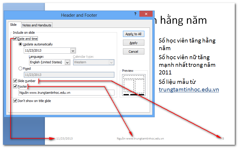 Hộp thoại Header and Footer