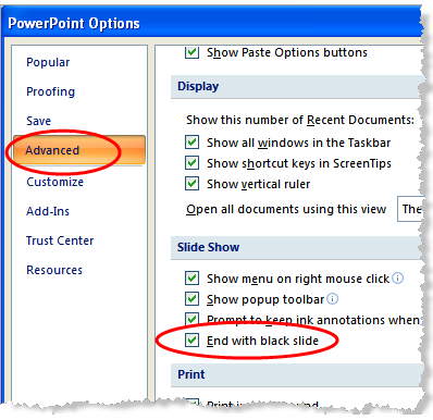 PowerPoint Options cho Slide Show